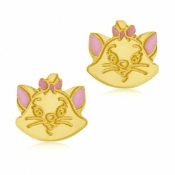 Boucles d'oreilles en or jaune et laque, Marie chat Disney