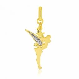 Pendentif en or jaune et laque pailletée, Fée Clochette Disney
