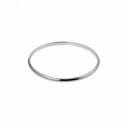 Bracelet jonc en argent rhodié, fil demi jonc 4 mm