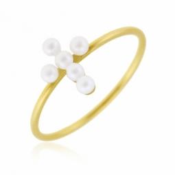 Bague en or jaune et perles de culture