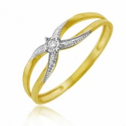Bague en or jaune rhodié, diamant