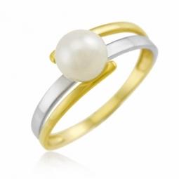 Bague en or jaune rhodié, perle de culture