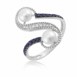 Bague en or gris diamants, perles de culture et saphirs