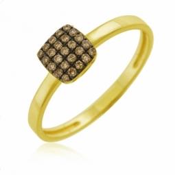Bague en or jaune et rhodié noir, diamants bruns