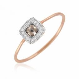 Bague en or rose et rhodié, diamants blancs et bruns