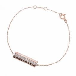 Bracelet en or rose et rhodié, diamants blancs et diamants bruns