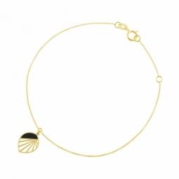 Bracelet en or jaune et laque, feuille