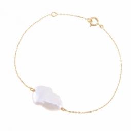 Bracelet en or jaune et perle naturelle Keshi