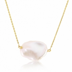 Collier en or jaune et perle naturelle Keshi