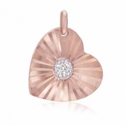 Pendentif en or rose diamants, coeur strié