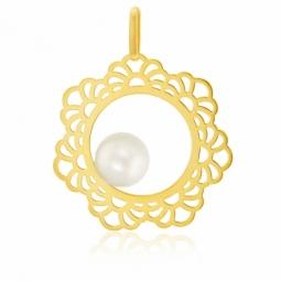 Pendentif en or jaune dentelle, perle de culture