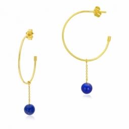 Créoles en or jaune et Lapis Lazuli