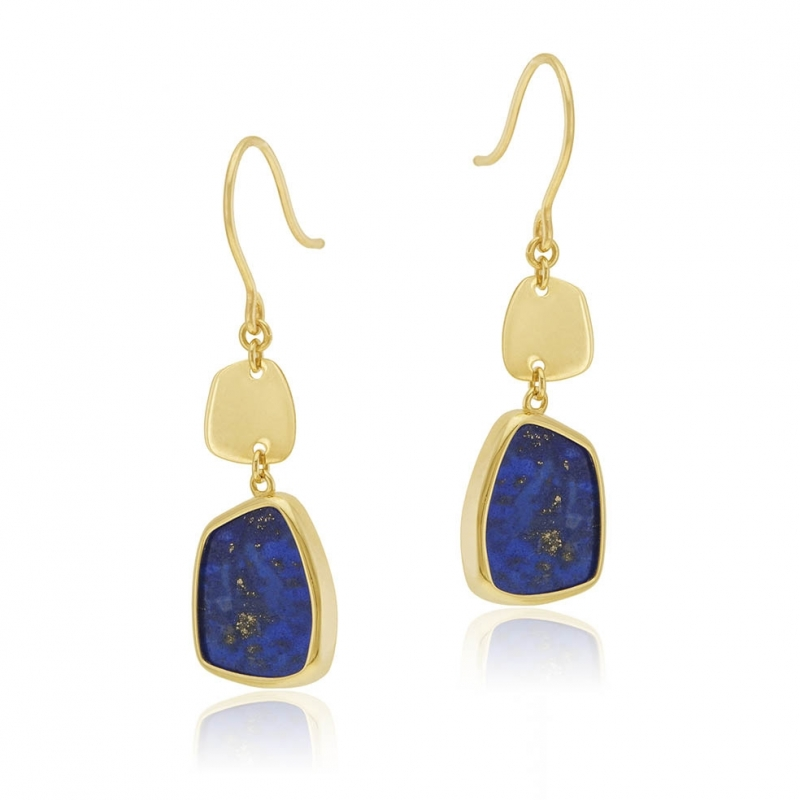 S3 14 mm Nature Ronde Lapis Lazuli Dangle Boucle d/'Oreille Or 14k