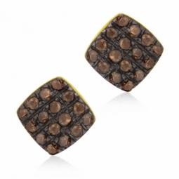 Boucles d'oreilles en or jaune rhodié noir  et diamants bruns