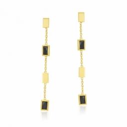 Boucles d'oreilles en or jaune, cristaux de synthese  noirs