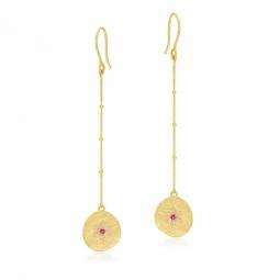 Boucles d'oreilles en or jaune et mate, oxydes de zirconium