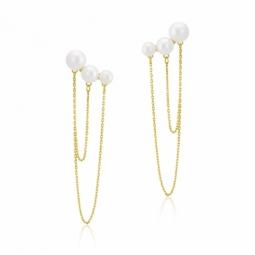 Boucles d'oreilles or jaune et perles de culture