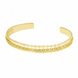 Bracelet jonc en plaqué or et oxydes de zirconium