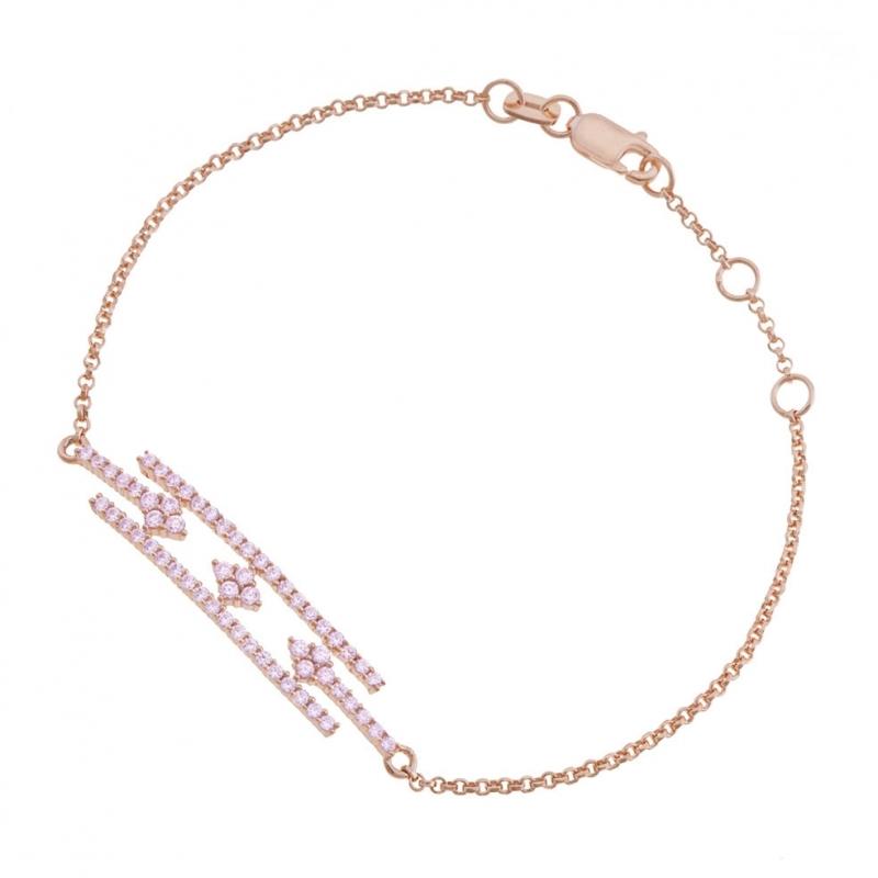 Achat Bracelet en argent doré rose et oxydes de zirconium ...