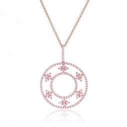 Collier en argent doré rose et oxydes de zirconium