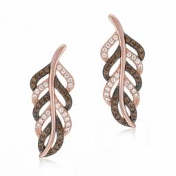 Boucles d'oreilles en plaqué or rose et rhodié, oxydes de zirconium