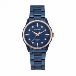 Montre femme étanche 50 métres, boîte acier bleu, bracelet acier bleu et verre minéral