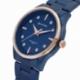 Montre femme étanche 50 métres, boîte acier bleu, bracelet acier bleu et verre minéral - B