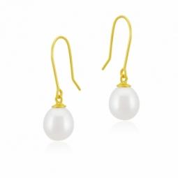 Boucles d'oreilles crochet en or jaune, perle de culture