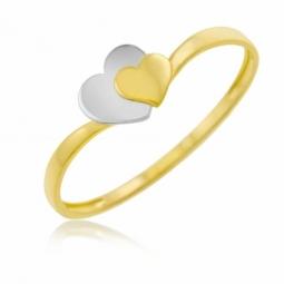 Bague en or jaune et rhodié, coeurs