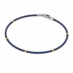 Bracelet jonc en or jaune, acier et acier bleu