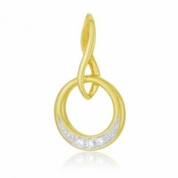 Pendentif or jaune rhodié et diamants