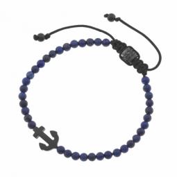 Bracelet en acier noir, cordon coton et lapis lazuli
