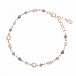 Bracelet en argent rhodié rose, cristaux de synthèse