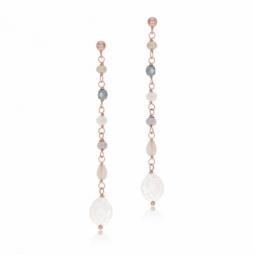 Boucles d'oreilles en argent rhodié rose, cristaux de synthèse et perle de culture