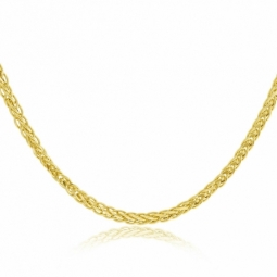 Collier or jaune maille palmier