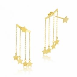 Boucles d'oreilles en or jaune, pampilles étoiles