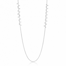 collier sautoir en argent rhodié, chaîne pampille
