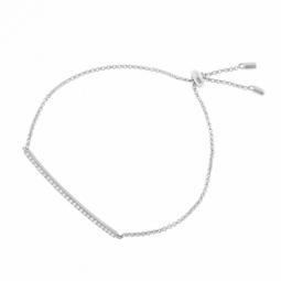Bracelet en argent rhodié et oxydes de zirconium,  fermoir coulissant intérieur silicone