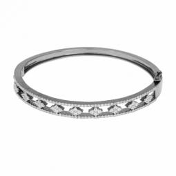 Bracelet jonc en argent rhodié anthracite, oxydes de zirconium