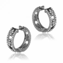 Boucles d'oreilles en argent rhodié gris anthracite, oxydes de zirconium