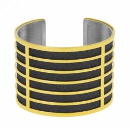 Bracelet jonc en acier doré, intérieur acier et laque pailletée noire