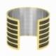 Bracelet jonc en acier doré, intérieur acier et laque pailletée noire - C