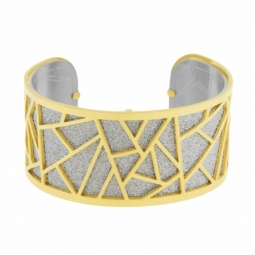 Bracelet jonc en acier doré, intérieur acier et laque pailletée