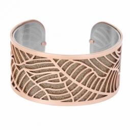Bracelet jonc en acier rose, intérieur acier et laque pailletée rose