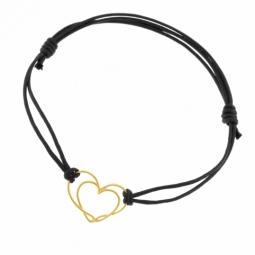 Bracelet cordon en or jaune, coeur ajouré