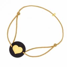 Bracelet cordon en or jaune et bois