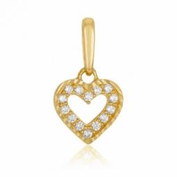 Pendentif en or jaune et oxydes de zirconium, coeur