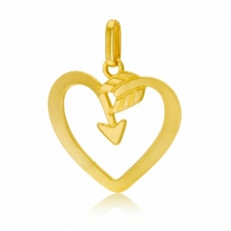 Pendentif en or jaune, coeur ajouré flèche