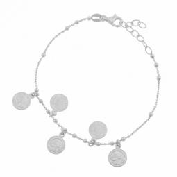 Bracelet en argent rhodié, pampilles pièces