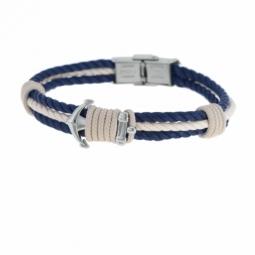 Bracelet en acier et cordon, ancre marine